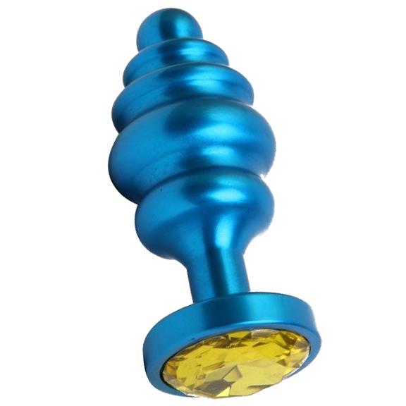 Синяя ребристая анальная пробка с жёлтым кристаллом. Вид 1.