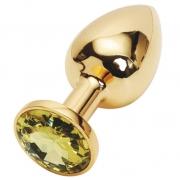 Золотистая анальная пробка с желтым кристаллом
