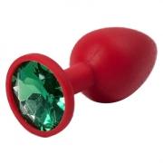 Красная силиконовая пробка с зеленым кристаллом (7,1 см)