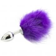 Металлическая анальная пробка с фиолетовым хвостиком