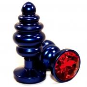 Синяя рифлёная пробка с красным кристаллом