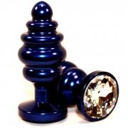 Синяя рифлёная пробка с прозрачным кристаллом