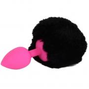 Розовая анальная пробка с черным хвостом «Задорный Кролик»