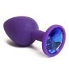 Фиолетовая силиконовая пробка с синим стразом (7,1 см). Вид 1.