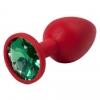 Красная силиконовая пробка с зеленым кристаллом (7,1 см). Вид 1.