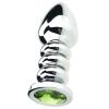 Серебристая фигурная анальная пробка с зелёным кристаллом. Вид 1.