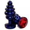 Синяя рифлёная пробка с красным кристаллом. Вид 1.