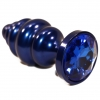 Синяя рифлёная пробка с синим кристаллом. Вид 2.