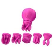 Женский вибратор с 5-ю сменными насадками Caress (розовый)