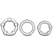 Три прозрачных эрекционных кольца Stay Hard Beaded Cockrings