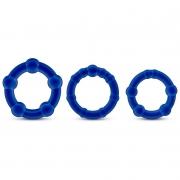 Набор из трех синих эрекционных колец Beaded Cockrings