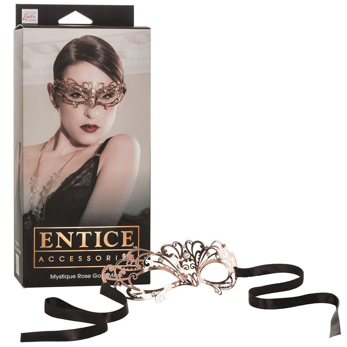 Золотистая маска с имитацией кристаллов Entice Mystique Mask. Вид 2.