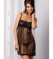 Полупрозрачная тюлевая сорочка Nicolette (L-XL, черная)