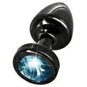 Анальная пробка со стразом Anni Round Black Т1 Blue
