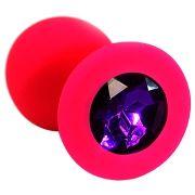 Силиконовая анальная втулка с фиолетовым кристаллом (красная)