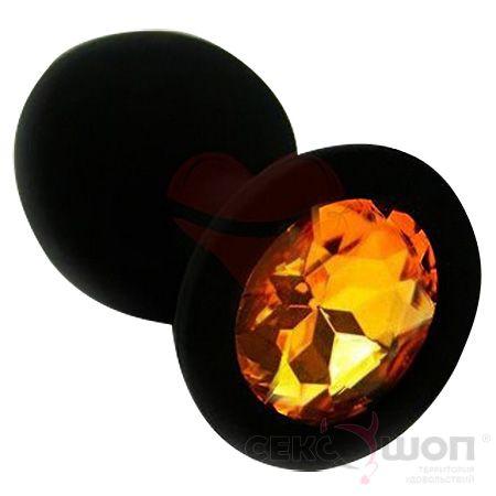 Силиконовая анальная мини-пробка с оранжевым кристаллом. Вид 1.