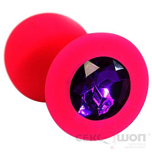Силиконовая анальная втулка с фиолетовым кристаллом (красная). Вид 1.