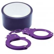 Набор для фиксации BONDX METAL CUFFS AND RIBBON (фиолетовый)