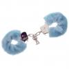 Голубые меховые наручники METAL HANDCUFF WITH PLUSH BLUE. Вид 1.