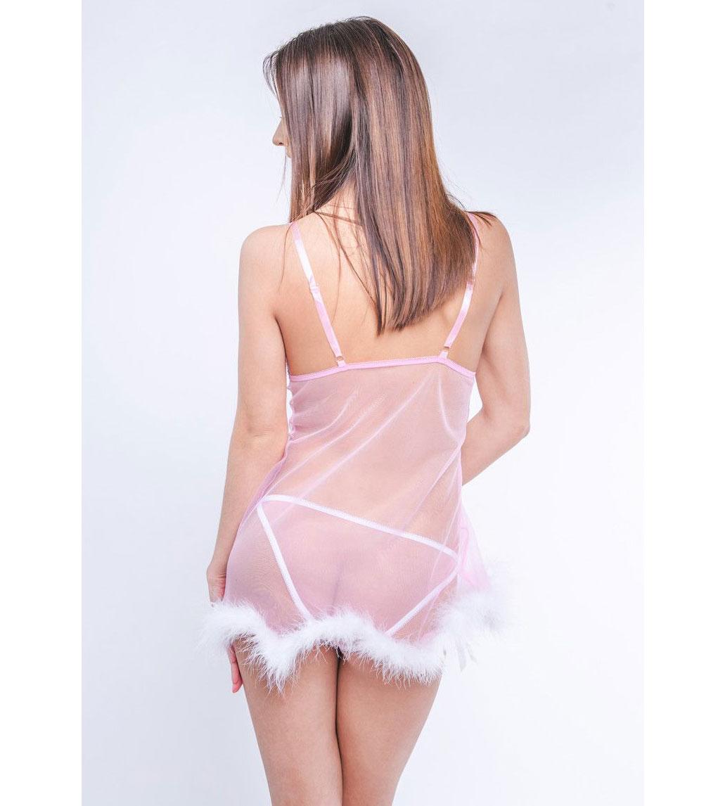 Сорочка бэби-долл с кружевом и пёрышками марабу (S-M-L, розовая). Вид 4.