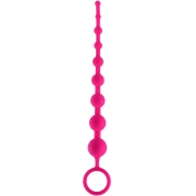 Розовая анальная цепочка из 9 шариков