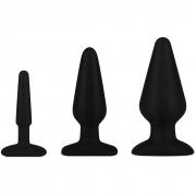 Набор из 3-х черных анальных плагов из силикона