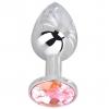 Мини-плаг из стали с розовым кристаллом Pink Bubble Gum (6,5 см). Вид 1.
