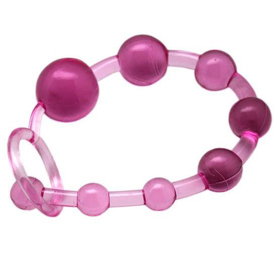 Розовая анальная цепочка с ручкой. Вид 3.