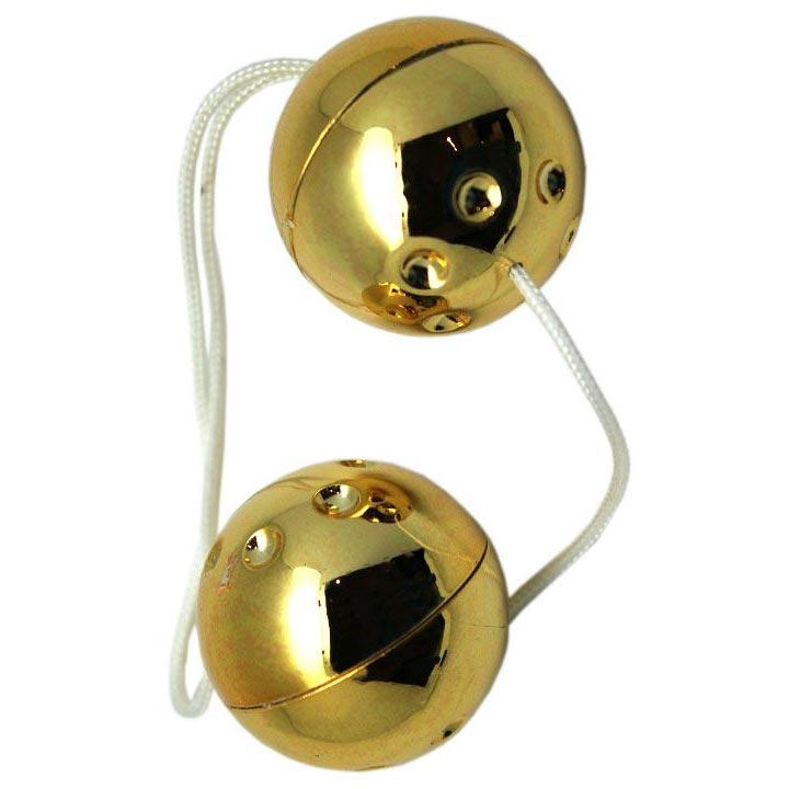 Золотистые шарики со смещённым центром тяжести. Вид 3.
