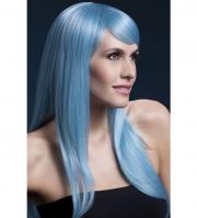 Голубой парик с чёлкой на бок