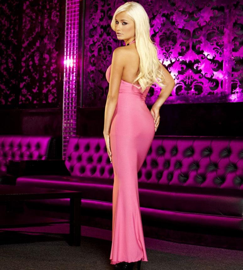 Вечернее розовое платье в пол от Hustler (M-L). Вид 2.