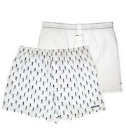 Комплект из 2 мужских трусов-шортов: белые и с рисунком (S)