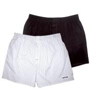Комплект из 2 мужских трусов-шортов: чёрных и белых в полоску (S)