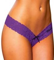 Фиолетовые ажурные трусики-танга (M-L)