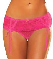 Розовые трусики с подвязками для чулок (M-L)