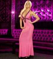 Вечернее розовое платье в пол от Hustler (M-L)