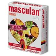 Жёлтые фруктовые презервативы Masculan Ultra (3 шт.)