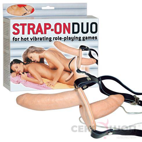 Двойной женский страпон с вибрацией Strap-On Duo. Вид 3.