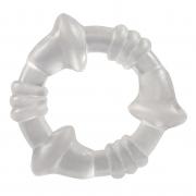 Прозрачное эрекционное кольцо с рёбрышками и наплывами