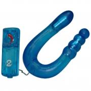 Двойной гелевый синий вибратор (32 см)