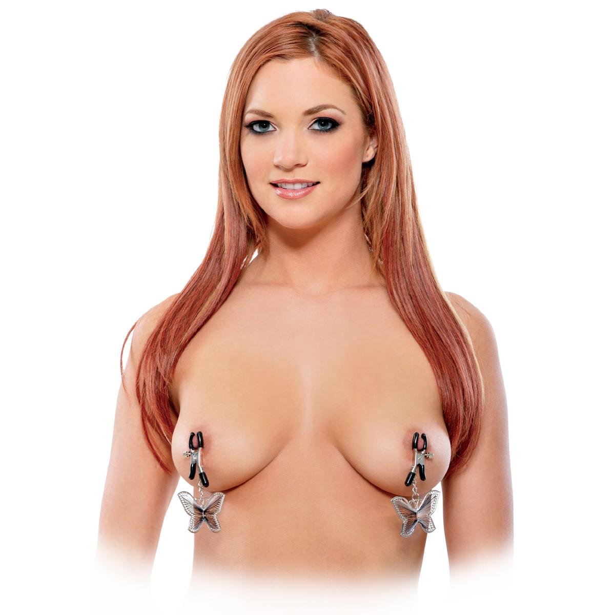 Зажимы на соски с бабочками Butterfly Nipple Clamps. Вид 1.