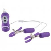 Фиолетовые зажимы с вибрацией на соски