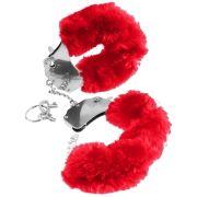 Наручники из металла с красным мехом Original Furry Cuffs