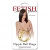 Золотистые клипсы на грудь с шариком Gold Nipple Bull Rings. Вид 1.