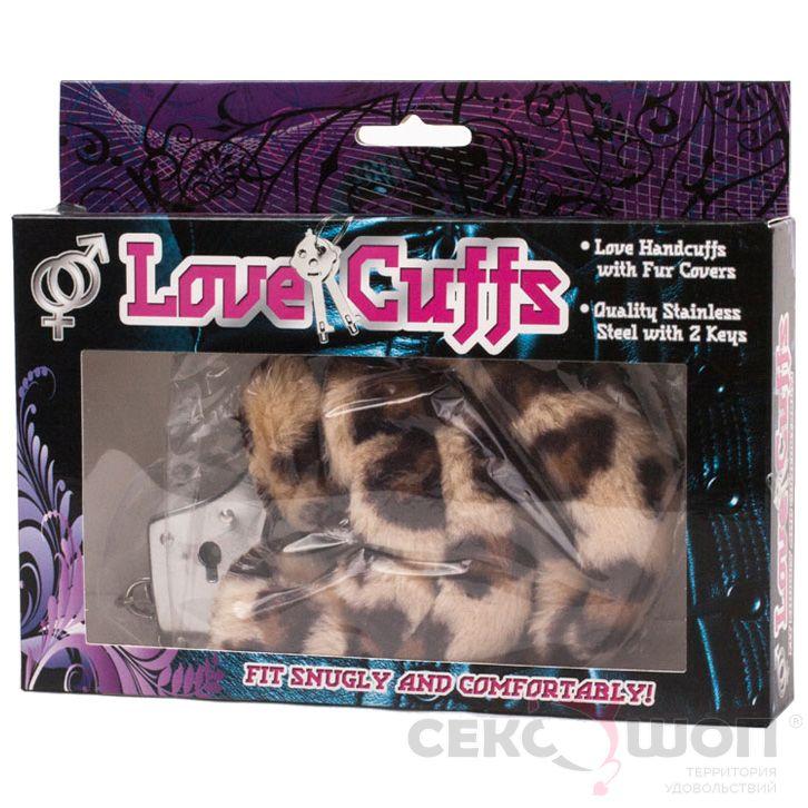 Наручники из металла с леопардовым мехом Love Cuffs. Вид 2.