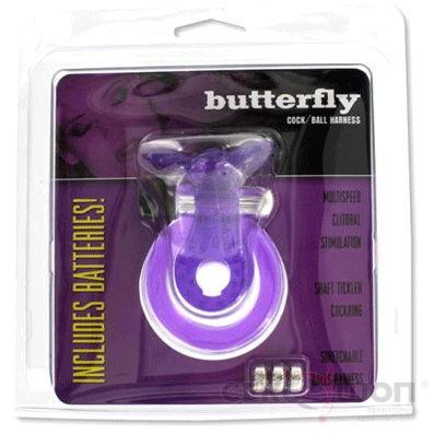 Эрекционное кольцо с отростком для клитора и вибрацией BUTTERFLY COCK. Вид 3.