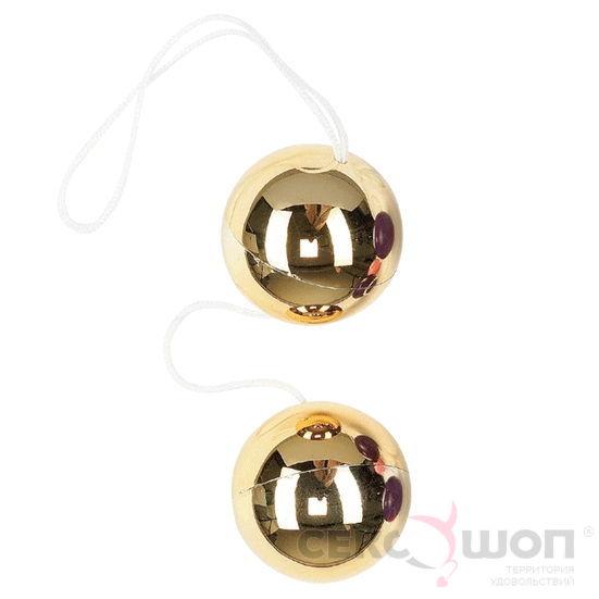 Золотые вагинальные шарики Vibratone Duo Balls. Вид 1.