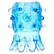 Открытая насадка на член со стимулирующими лепестками (синяя)