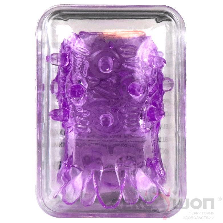 Открытая насадка на член с необычным рельефом (фиолетовая). Вид 2.