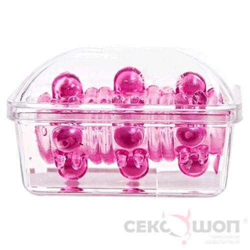 Открытая насадка на пенис с бусинами (розовая). Вид 2.